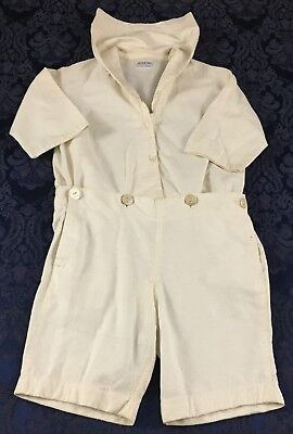 Vintage Boys White Sailor Suit Shorts MOP Buttons Peter Pan Kid Wash Clothes I43