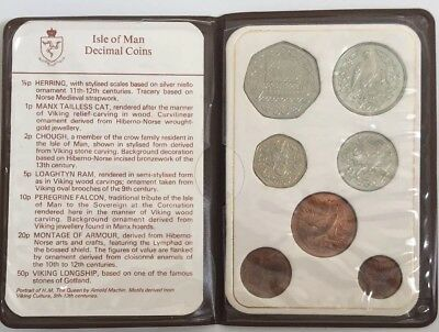 1982  Isle Of Man Decimal Coin Collection With Folder  Cert