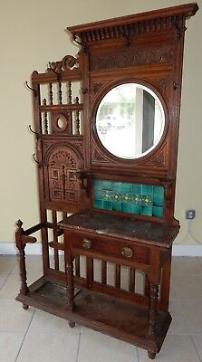 """Antique 19th century Inticrately carved English Oak Hall Stand  84"""""""