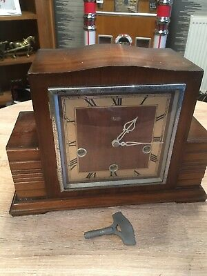 Art Deco Smiths Enfield Oak Mantel Clock Westminster Chimes Key SPARES & REPAIRS