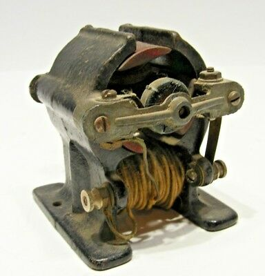 Antique Early Open Frame Dc Bipolar Electric Motor Clothed Wire