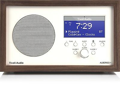 Tivoli Albergo+ (cream) with Walnut Case radio FM/DAB+ Bluetooth Aux speaker