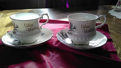 VINTAGE ROYAL SUTHERLAND H&M SET 2  CUPS AND SAUCERS  25th ANNIVERSARY