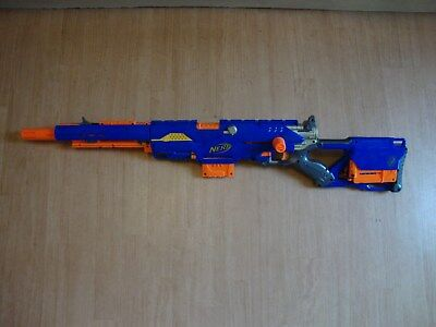 Nerf Longstrike Rifle With 3 6 Dart Clips And 18 Blue Darts Fully Working