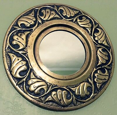 Vintage Arts & Crafts Style Brass Circular Repousse Wall Mirror