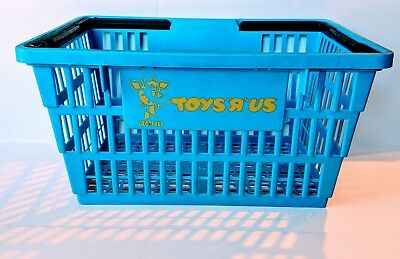 Vintage Toys R Us PLASTIC SHOPPING BASKET sign Geoffrey Toy Store RARE old