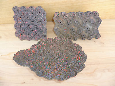 Antique Old Timber Pattern Decoration Printing Blocks Lot '3' (A13)