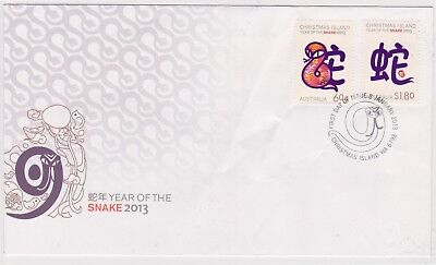 (K86-98) 2013 Christmas Island FDC $2.40 year of the SNAKE (DC)