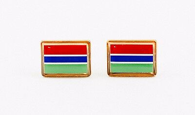 The Gambia Flag Cufflinks--Gambian West African Africa British