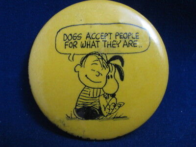 """Vintage 1963 Peanuts Pin With Linus And Snoopy- 1 3/4"""" Diameter"""