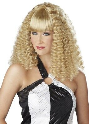Disco Lady Boogie Blonde 1970s 1980s Crimped Womens Costume Wig