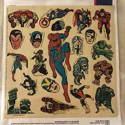 1969 Marvelmania International Club Spider-Man/Marvel Comics Sticker Sheet RARE