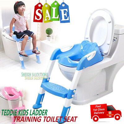 Kids Baby Boy Girl Children Potty Loo Training Toilet Seat Step Ladder Bear Blue
