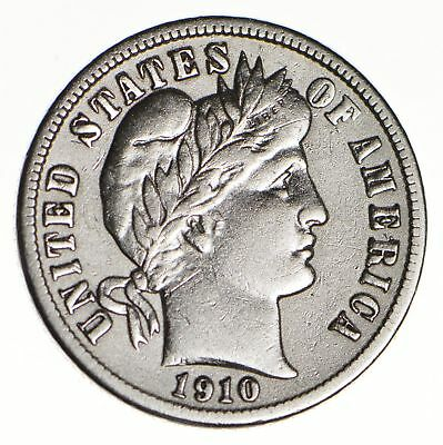10c - Choice - 1910-D - Barber Dime - Look at the Detail! *145