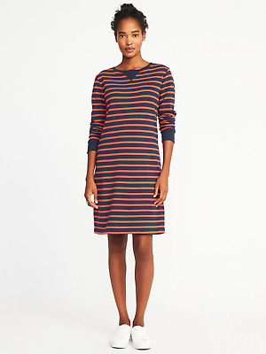 Old Navy Spring 2018 Blue An Red Striped French Terry Shift Dress Nwts L