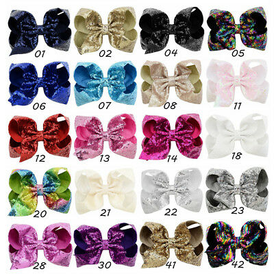 Kids 8 inch Big Sequin Hair Bow Alligator Clips Headwear Girls Hair Accessories