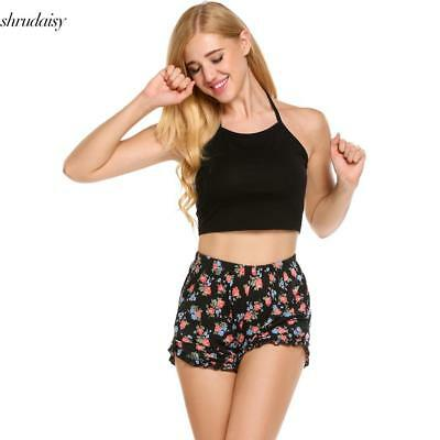 Women Pajamas Set Halter Sleeveless Crop Top and Shorts Lounge Sleepwear S5DY