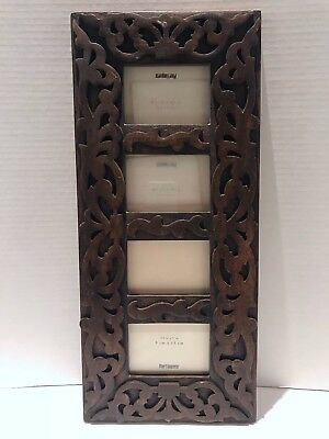 Pier 1 Imports Carved Wood Divided Picture Photo Frame Wall Hanging
