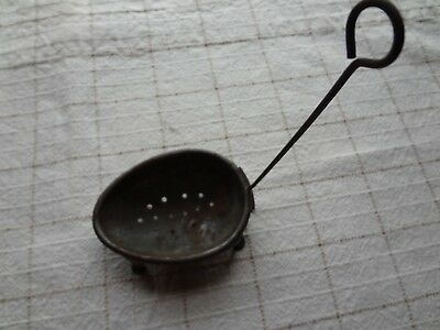 Vintage- Antique Metal Tin Footed Egg Shaped Egg Holder-Dipper-Tea Strainer