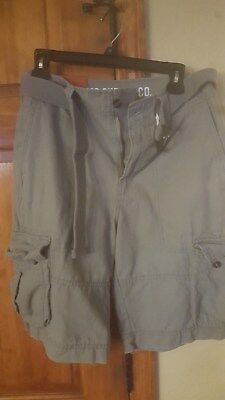 50e3c27fc5 NEW MOSSIMO MEN'S Belted Cargo Shorts - Light Gray - Size: 28 ...