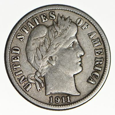 10c - Choice - 1911 - Barber Dime - Look at the Detail! *139