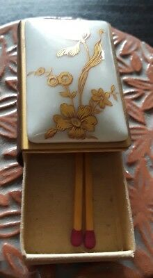 Antique Porcelain Hand Painted Floral Match Box With Striker In Lid