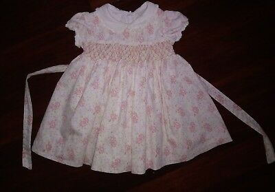 Jillianu0027s Closet Baby Girl Dress 18 Months Pink Smocked Lined Floral W/  Collar