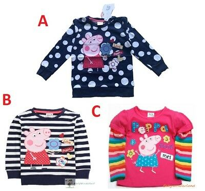Girls Peppa Pig Long Sleeves Cotton Jumper Top dress size 1-6Years