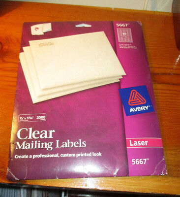 avery 5667 clear laser labels 1 2 x 1 3 4 2000 count new 24 95