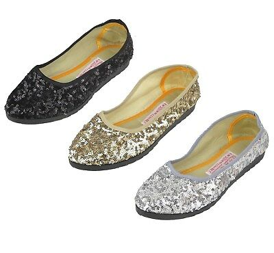 227569e760 Women's Sequin Ballet Flats Shoes in Black Gold Silver Sizes 37-40 New
