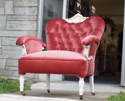 Antique Vintage Victorian Arm Chair Ruby Velvet Newly Upholstered & Refinished
