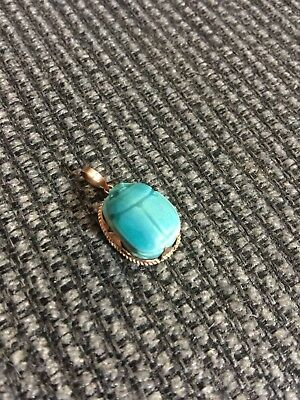 Estate Antique VINTAGE Faience Egyptian Revival 14K Gold Scarab Beetle Pendant