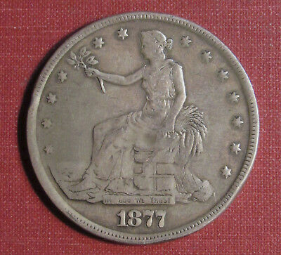 1877 Trade Dollar - Cleaned, Heavily Polished And Abused, Please View