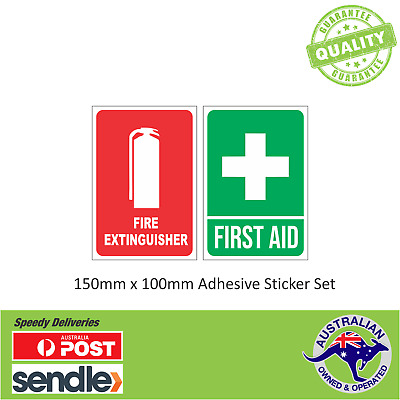 FIRST AID & FIRE EXTINGUISHER Sticker Decal Sign Set 100mmx70mm OHS WHS