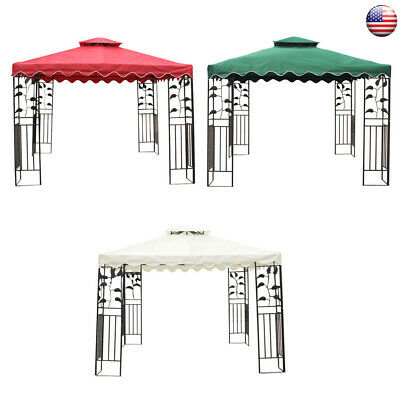 US 10x10' ft Gazebo Top Canopy Replacement Patio Pavilion Sunshade Cover 2-Tiers