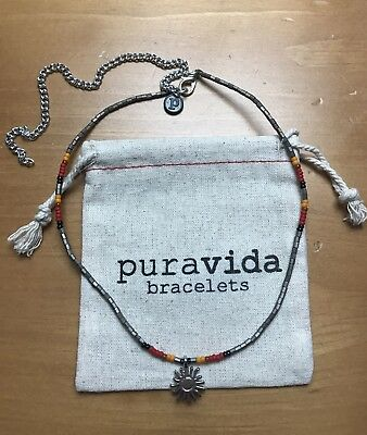 cb9836d4c0780 NEW! PURAVIDA SOLD OUT! Seed Bead Silver Choker Follow The Sun Necklace