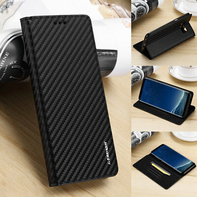 Ultra-Thin Magnetic Carbon Leather Flip Card Slot Case Cover For Samsung Galaxy