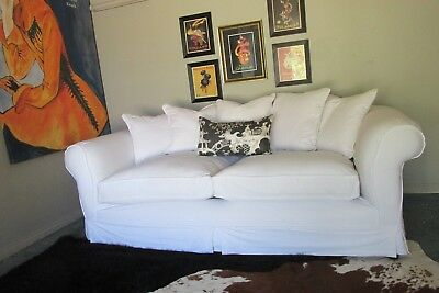 Stunning French/hamptons Huge Linen/cotton Chesterfield Sofa