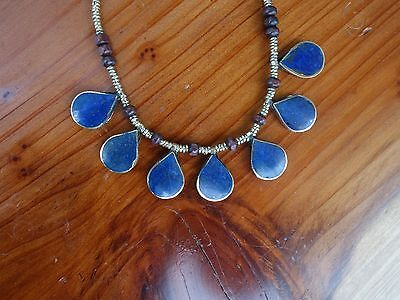 Lapis Lazuli Afghan Turkmen tear drop necklace Tribal Alpaca  necklace Boho