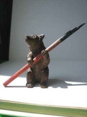 Black forest bear pen holder + pen victorian beautifully carved