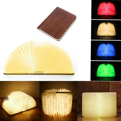 Wooden Folding Book Light Book Shaped Light Colors Led Desk Table Lamp For Decor