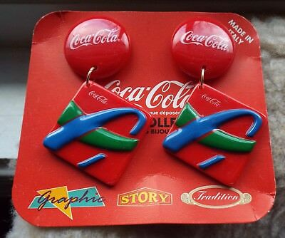 Graphic Story coca cola earrings coke 1991 vintage jewelry colletion