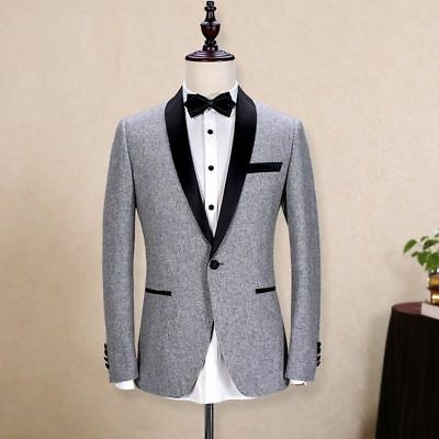 Men S 2pcs Grey Tweed Wedding Suit Slim Casual Dinner Suit Tuxedos