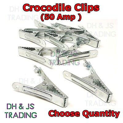 50A Heavy Duty Crocodile Clips - Large Battery Electric Test Charge 50 Amp Clip