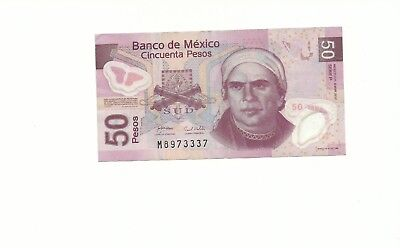 Mexico Banknote 50 Pesos AU Polymer Money - Mexican Bill-FREE SHIPPING