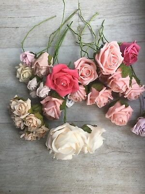 Job Lot Of Mixed Foam Roses , Used , Floristry , Art , Craft , Bouquet , Display