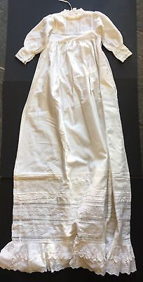 VINTAGE BABY CHRISTENING GOWN LACE & LAWN EMBROIDERED CUT AWAY DETAIL Pleats