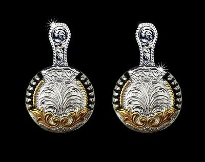 Western Cowgirl Jewelry Bright Silver/Gold ~Scroll~ Concho Post Earrings Kit
