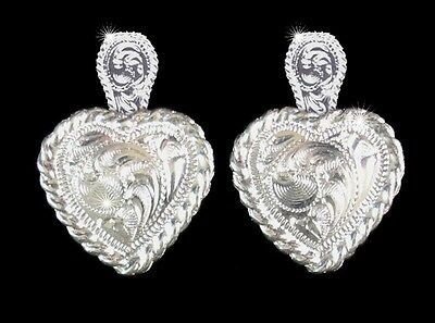 Western Cowgirl Jewelry Bright Silver ~Heart~ Concho Post Earrings Kit