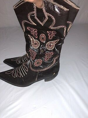 728278b9c0a WOMEN'S COWGIRL COWBOY Western Boots Bedazzled Gems Brown Dallas Size 9